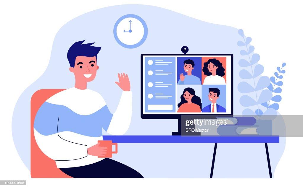 Worker using computer : stock illustration