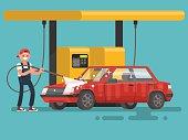 Worker washing a car at the car wash. Vector illustration