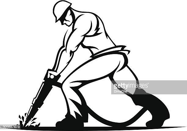 worker with a jackhammer - toughness stock illustrations