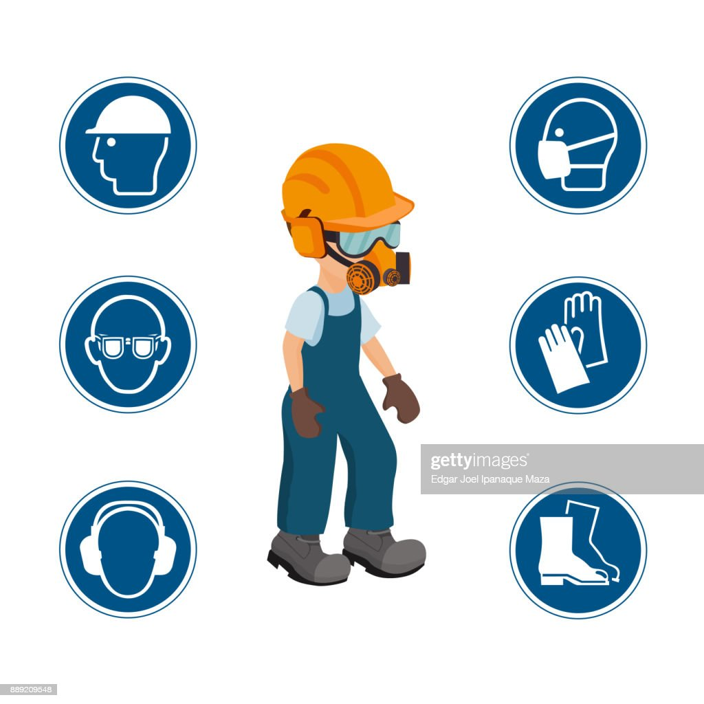 Worker with his personal protective equipment and security icons. vector ilustration.