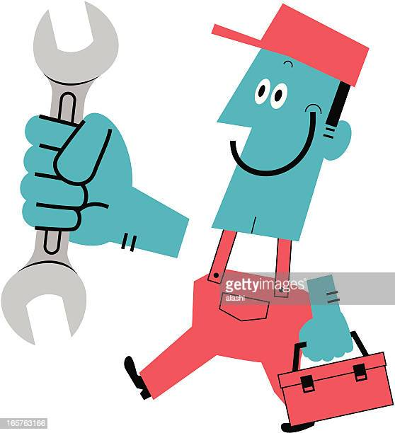 Worker with wrench and toolbox