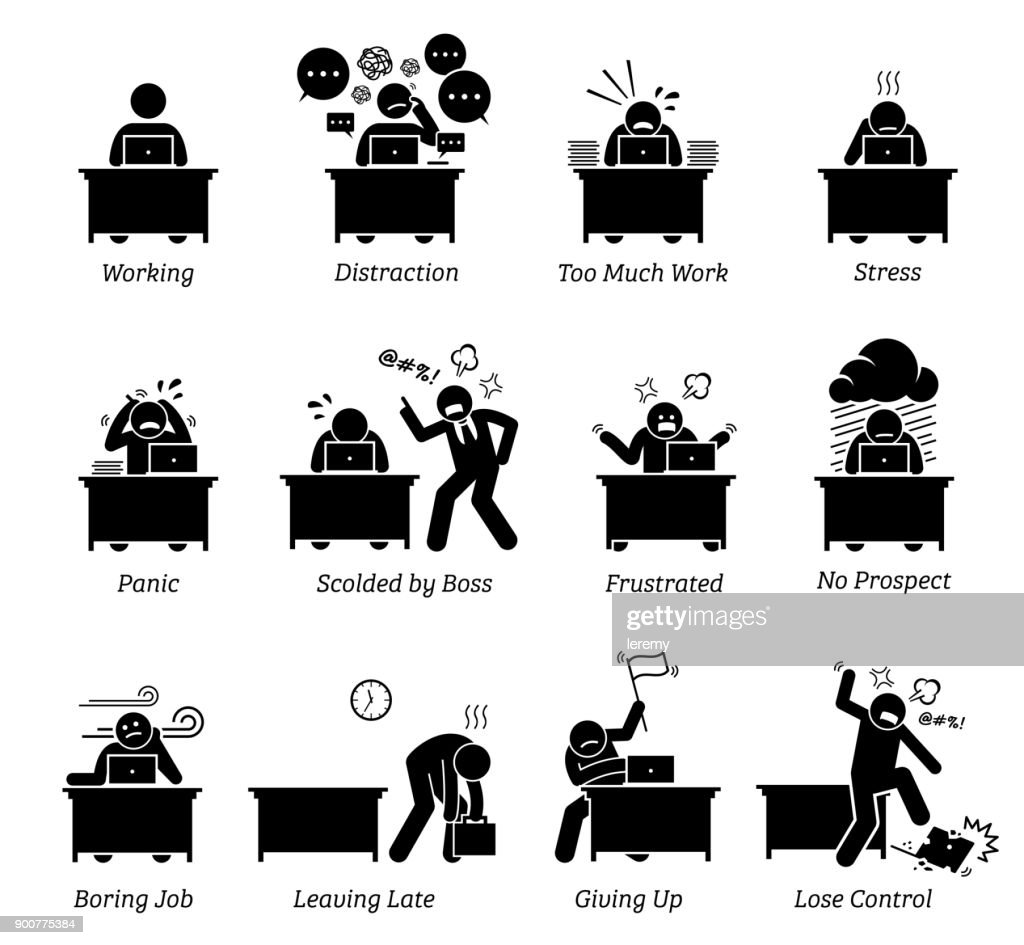 Worker working in a very stressful office workplace.