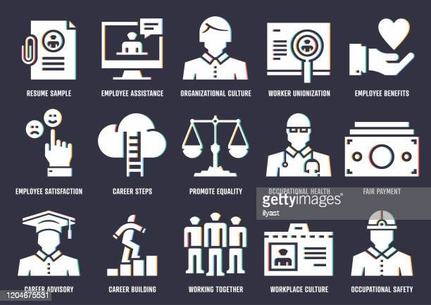 workers compensation vector icon pack with rgb split effect - workers compensation stock illustrations