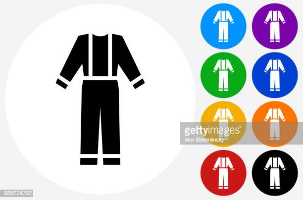 worker's uniform icon on flat color circle buttons - jumpsuit stock illustrations