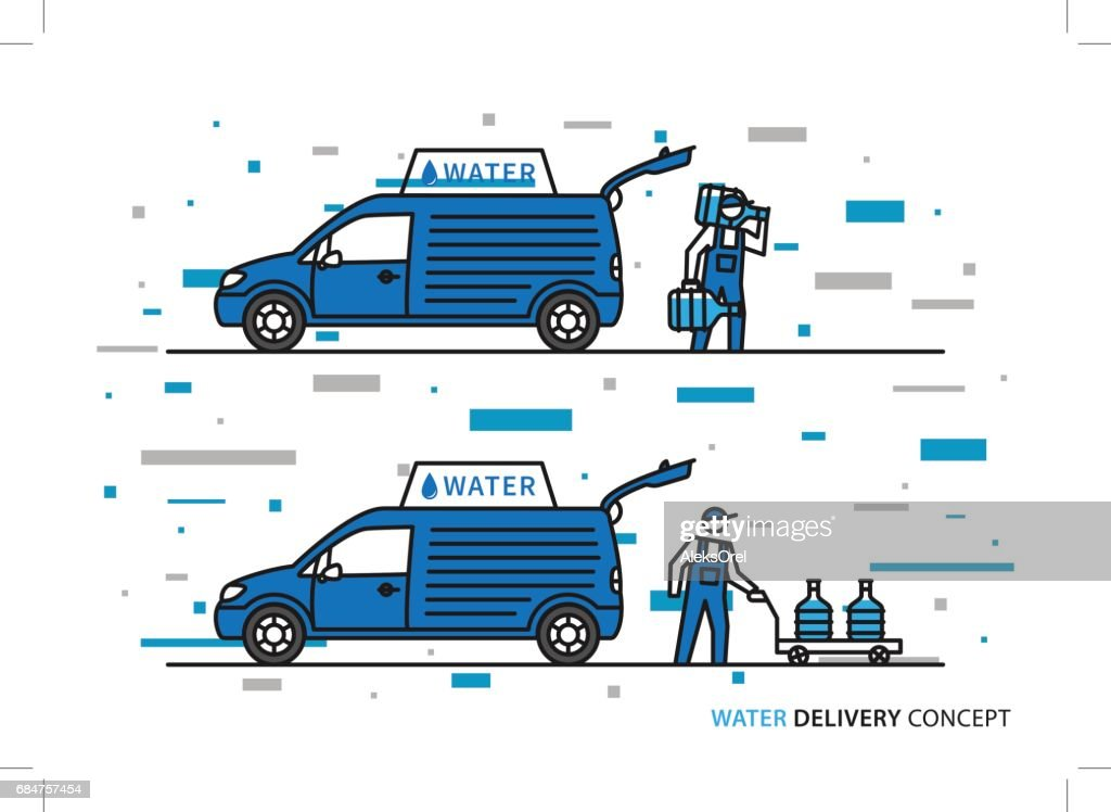 Workers with potable water bottles and car graphic design