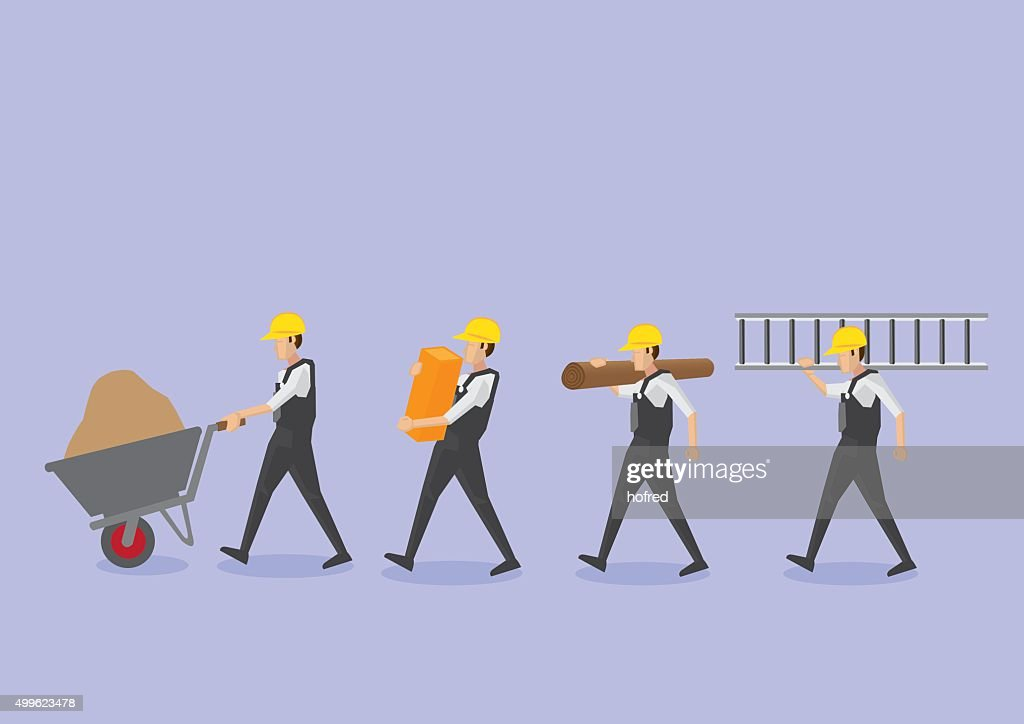 Workers with Tools in Profile View Vector Icon Set