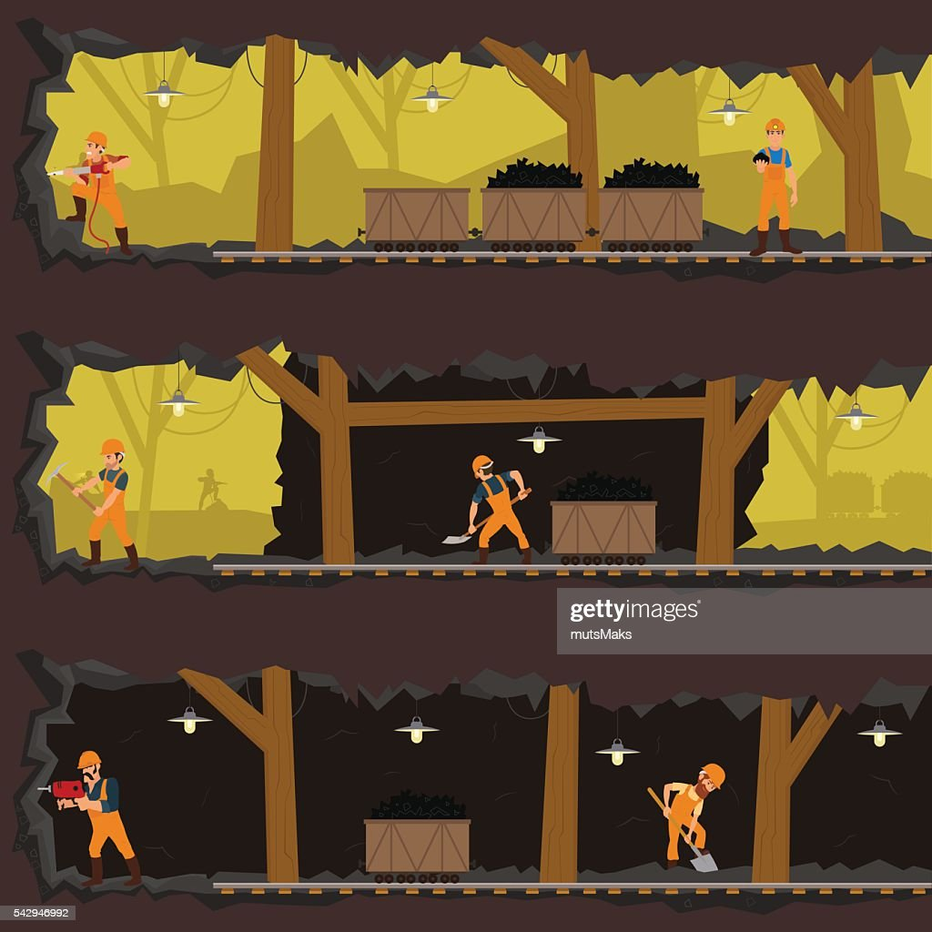 workers working in the mine at different levels.