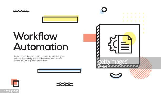 illustrazioni stock, clip art, cartoni animati e icone di tendenza di concetto di automazione del flusso di lavoro. banner e concetto di poster in stile retrò geometrico con l'icona automazione flusso di lavoro - automatizzato