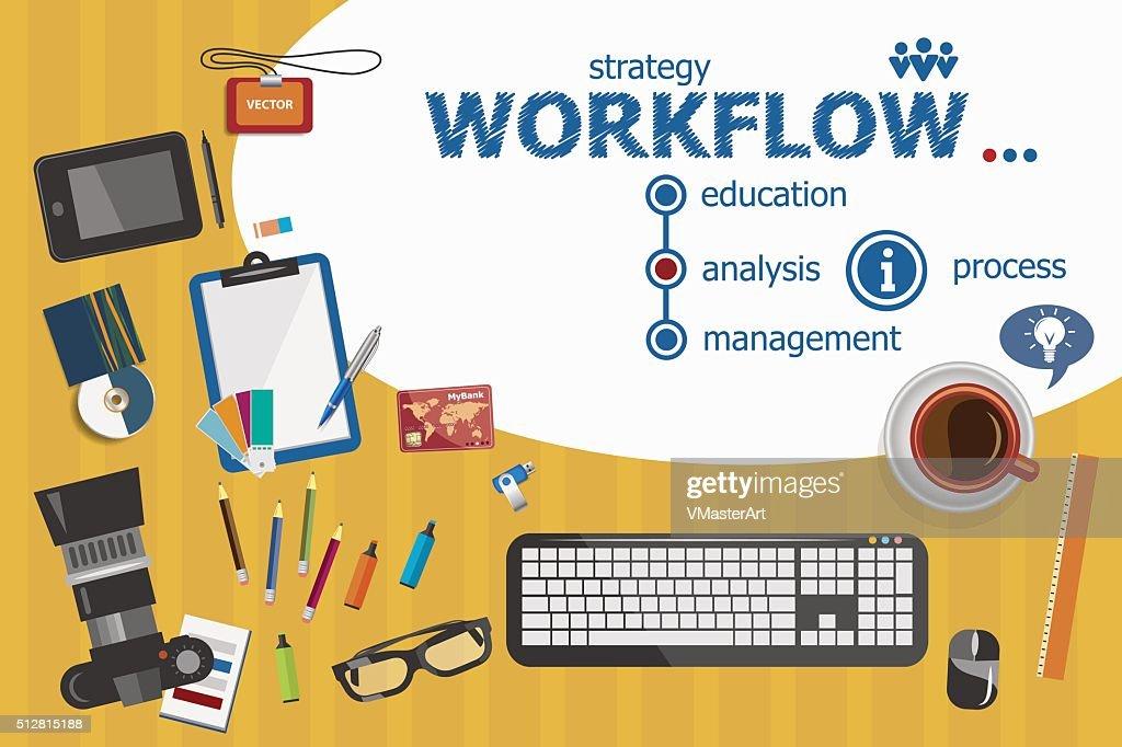 Workflow design and flat design illustration concepts for busine