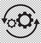 workflow icon on transparent. flat style. gear and arrow icon for your web site design, logo, app, UI. workflow automation icon. workflow concept sign.