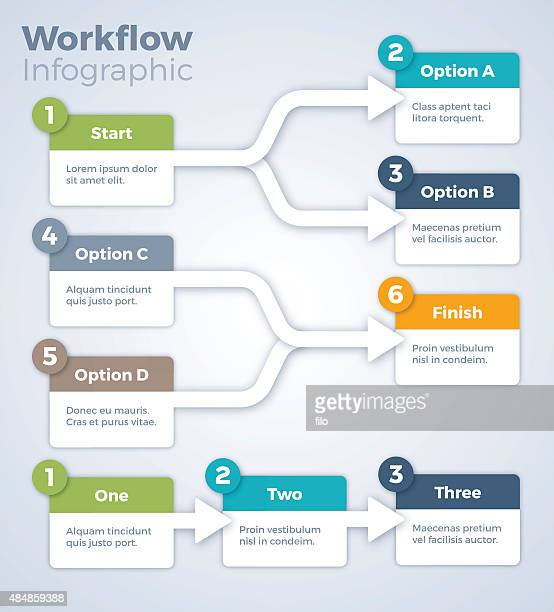 workflow infographic - flowing stock illustrations