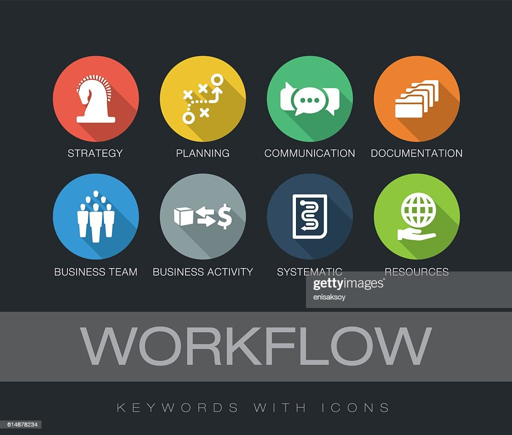 Workflow keywords with icons : Stock-Illustration
