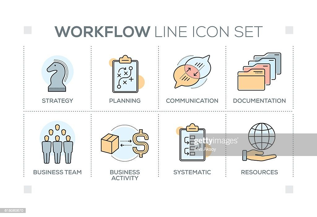 Workflow keywords with line icons : stock illustration