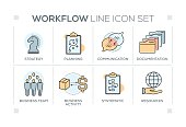 Workflow keywords with line icons