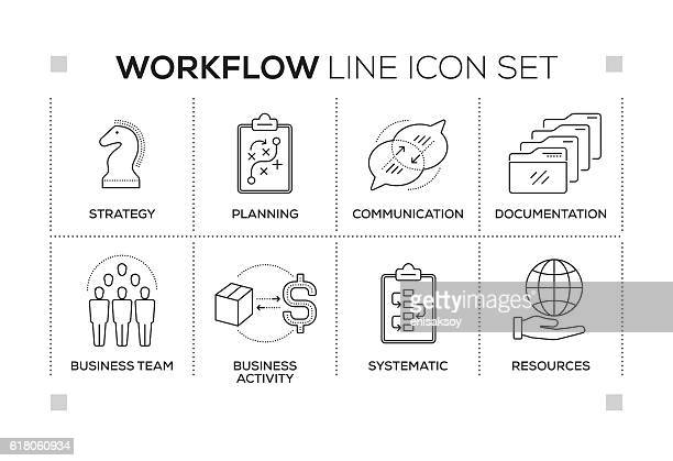 Workflow keywords with monochrome line icons