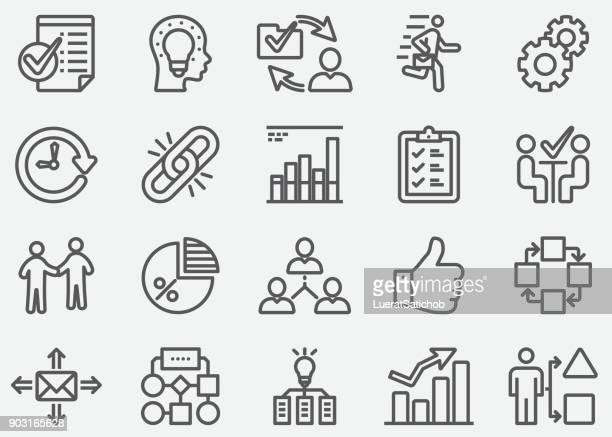 workflow line icons - corporate hierarchy stock illustrations, clip art, cartoons, & icons