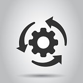 Workflow process icon in flat style. Gear cog wheel with arrows vector illustration on white background. Workflow business concept.