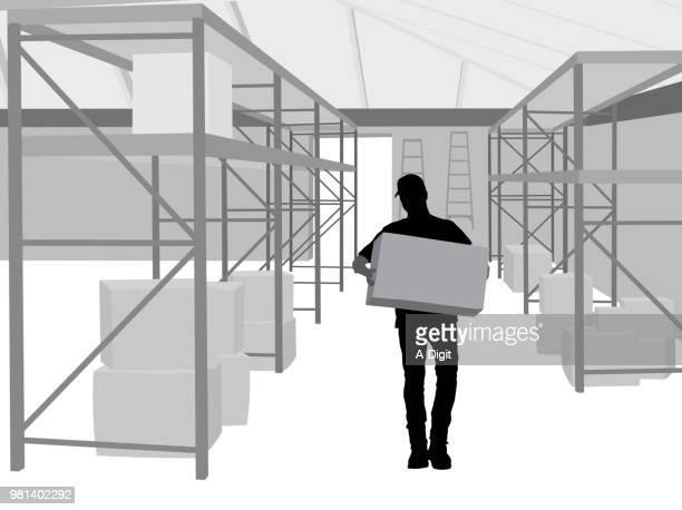 working alone warehouse stock - warehouse stock illustrations