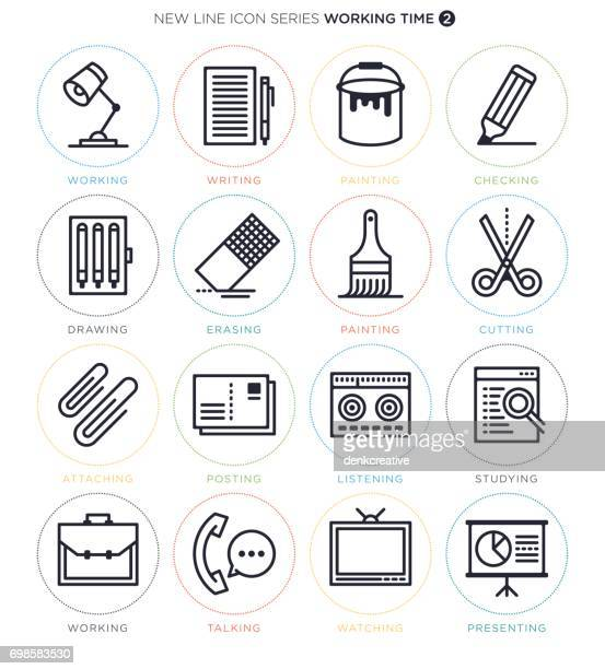 working and studying icon set - briefcase stock illustrations