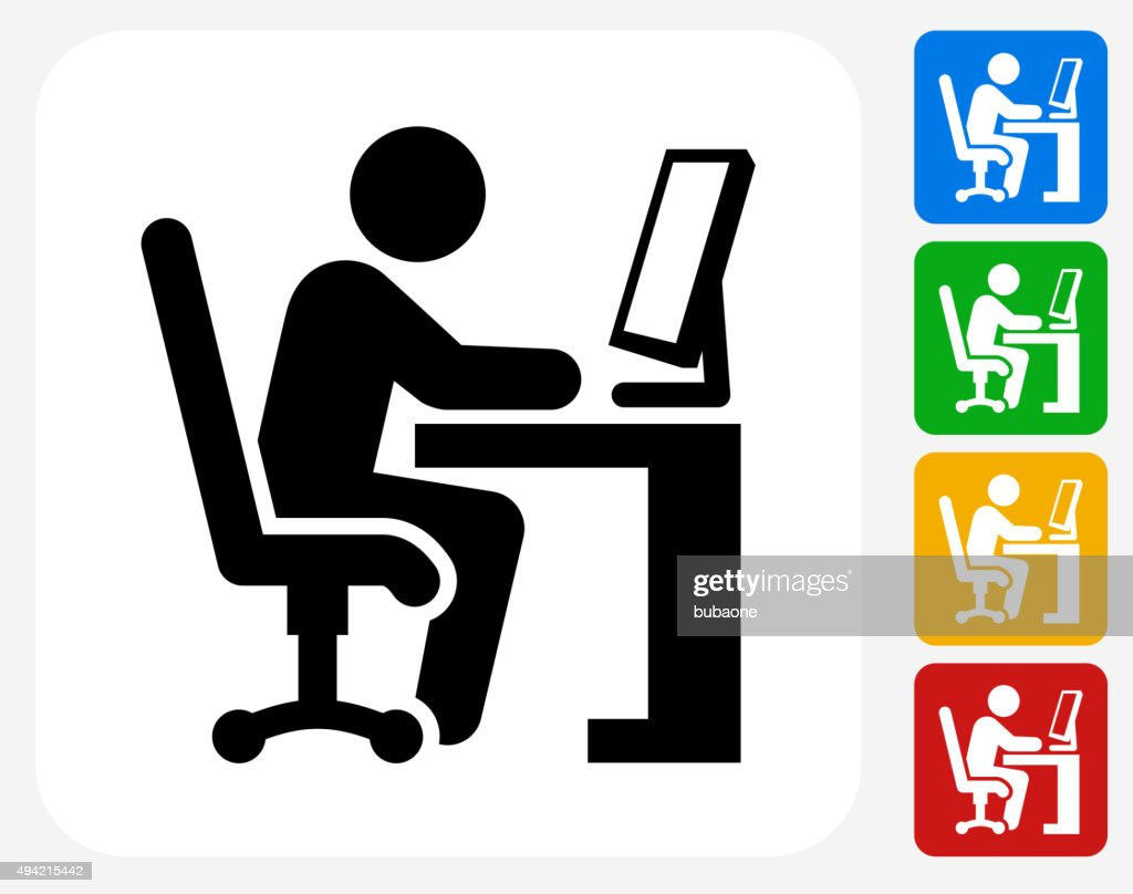 Working at Desk Icon Flat Graphic Design