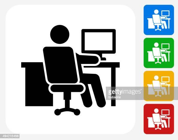 Icône de travail au bureau à la conception graphique