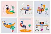 Working at home, coworking space, concept illustration. Young people, man and woman freelancers working at home. Vector flat style illustration
