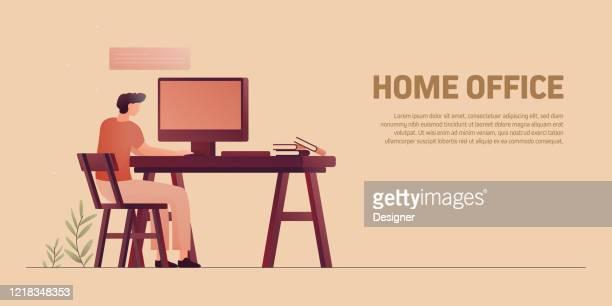illustrazioni stock, clip art, cartoni animati e icone di tendenza di lavorare a casa, home office concept vector illustration - usare il laptop