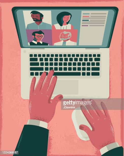 working at home online video conference or meeting concept - jdawnink stock illustrations