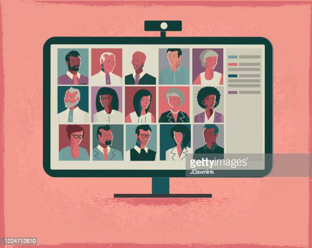 illustrazioni stock, clip art, cartoni animati e icone di tendenza di lavorare a casa videoconferenza online o concetto di riunione - video chiamata