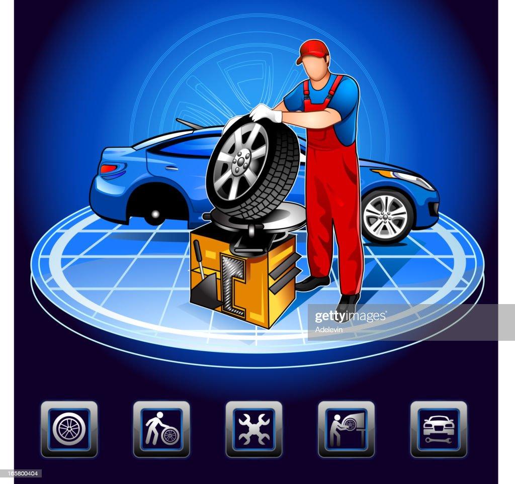 Working auto mechanic