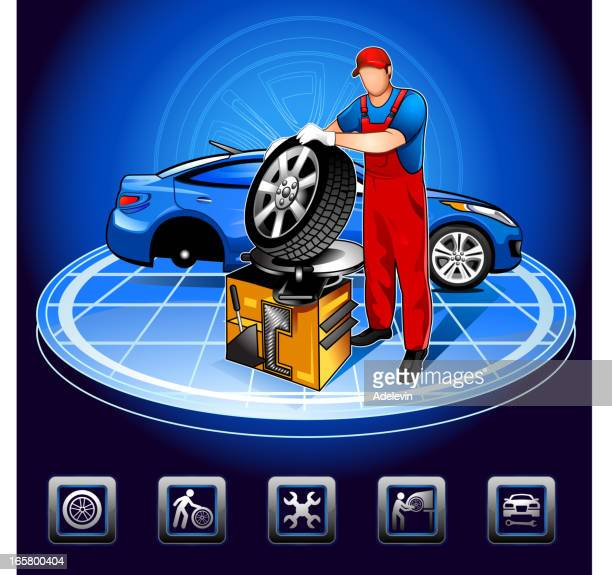working auto mechanic - tire vehicle part stock illustrations, clip art, cartoons, & icons