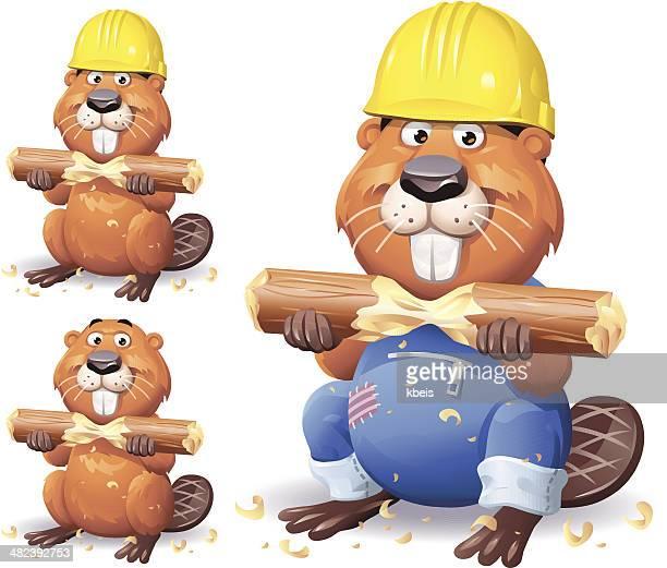 working beaver - funny beaver stock illustrations