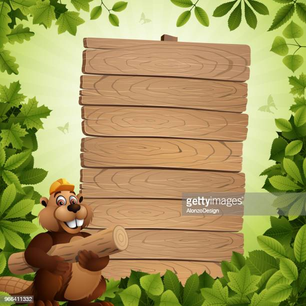 working beaver - tree trunk stock illustrations, clip art, cartoons, & icons