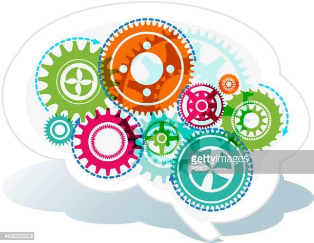 working brain - frontal lobe stock illustrations, clip art, cartoons, & icons