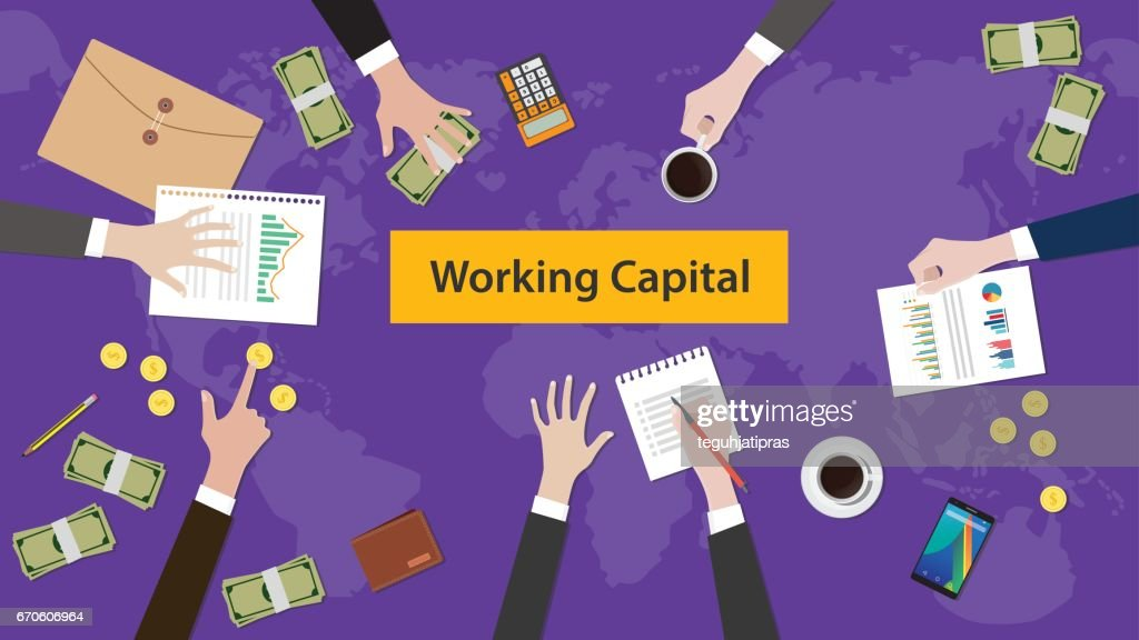 working capital concept discussion illustration with paperworks, money and folder document on top of table