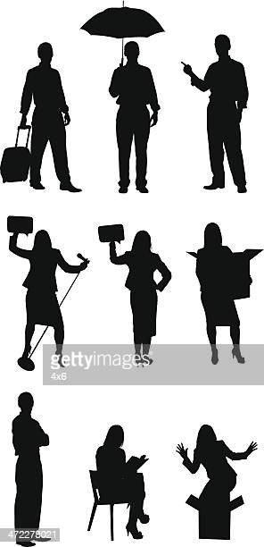 working class businesspeople silhouettes - microphone stand stock illustrations