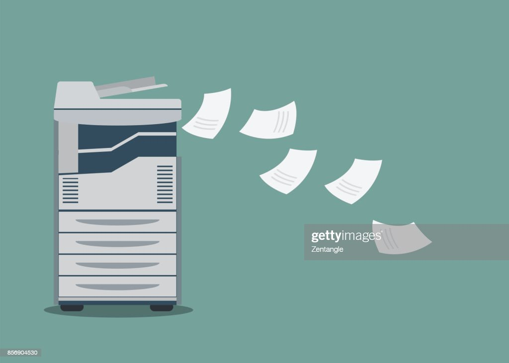Working copier printer with paper document .