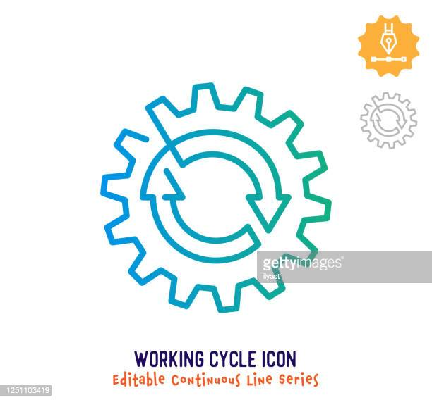working cycle continuous line editable stroke line - continuity stock illustrations