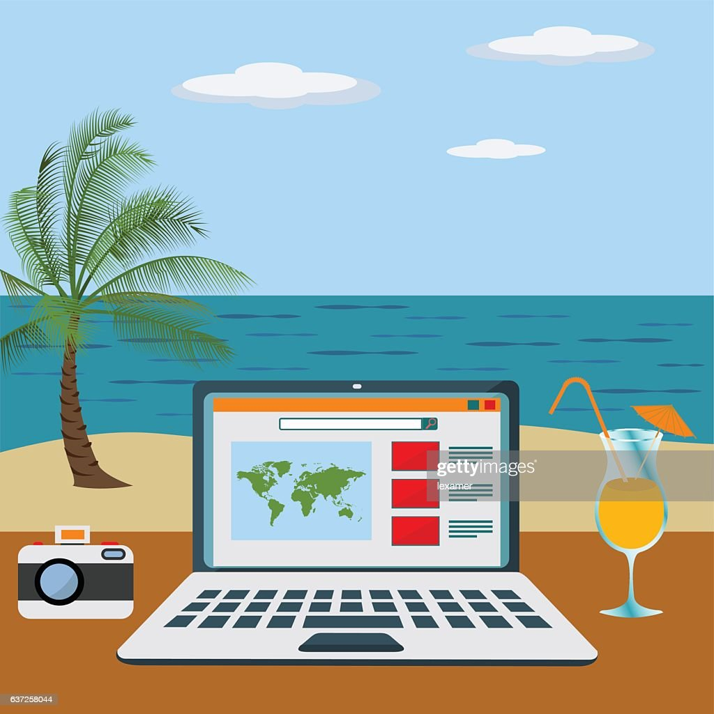 Working freelance on a beach vector concept