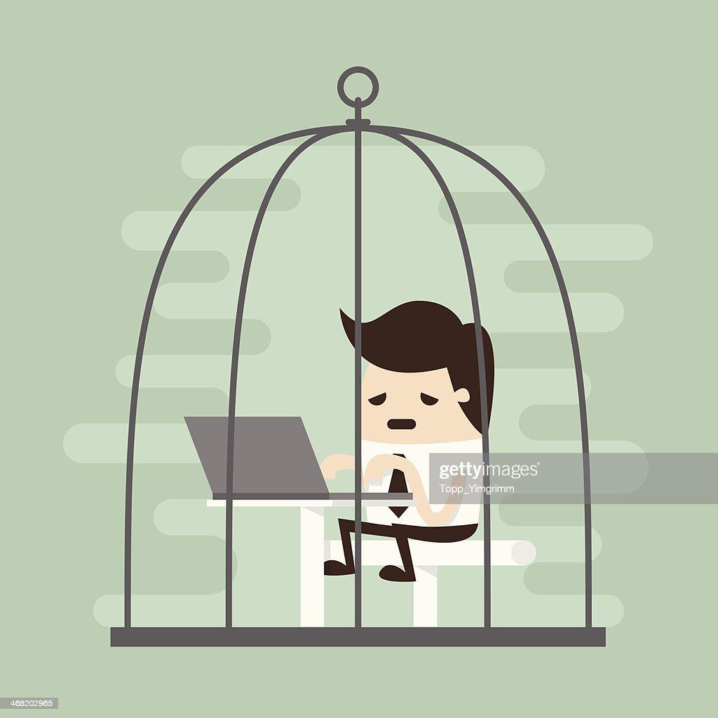 working in birdcage