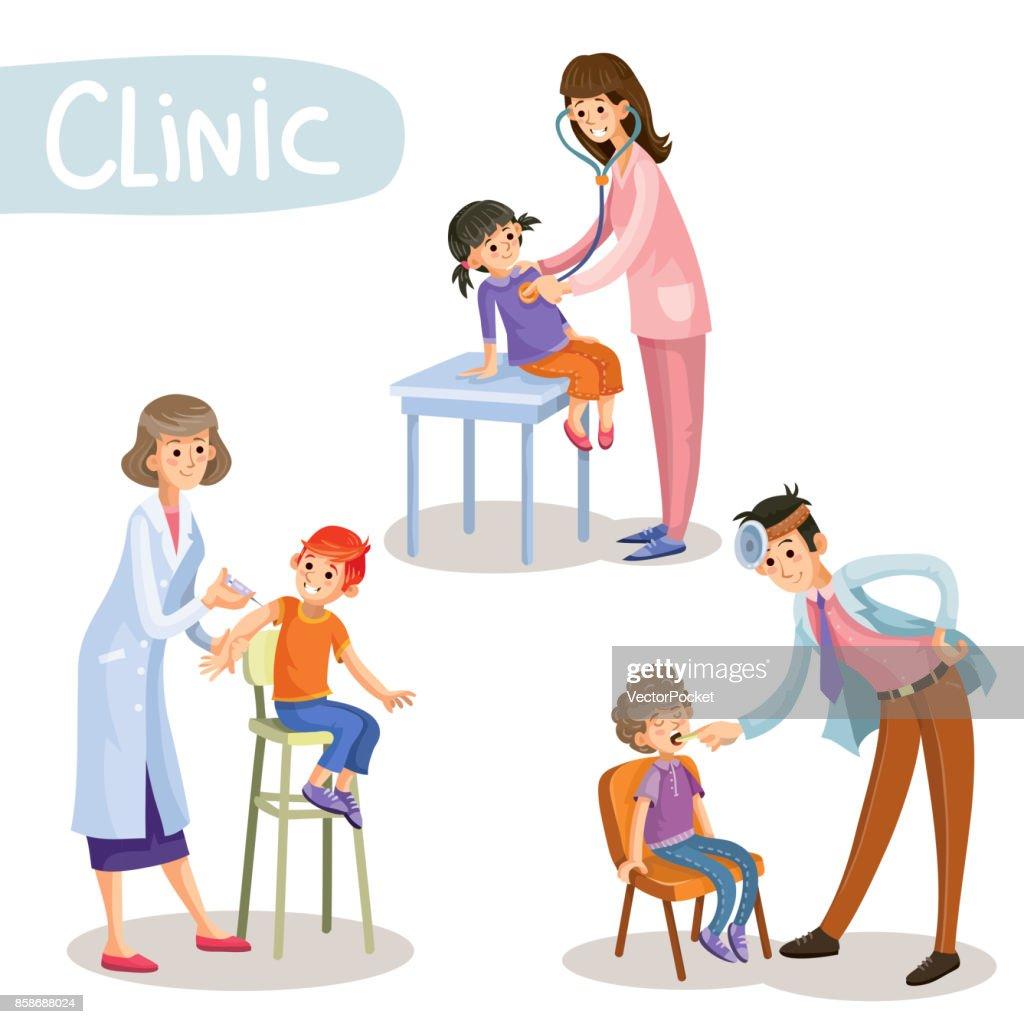 Working in clinic pediatrician cartoon vector