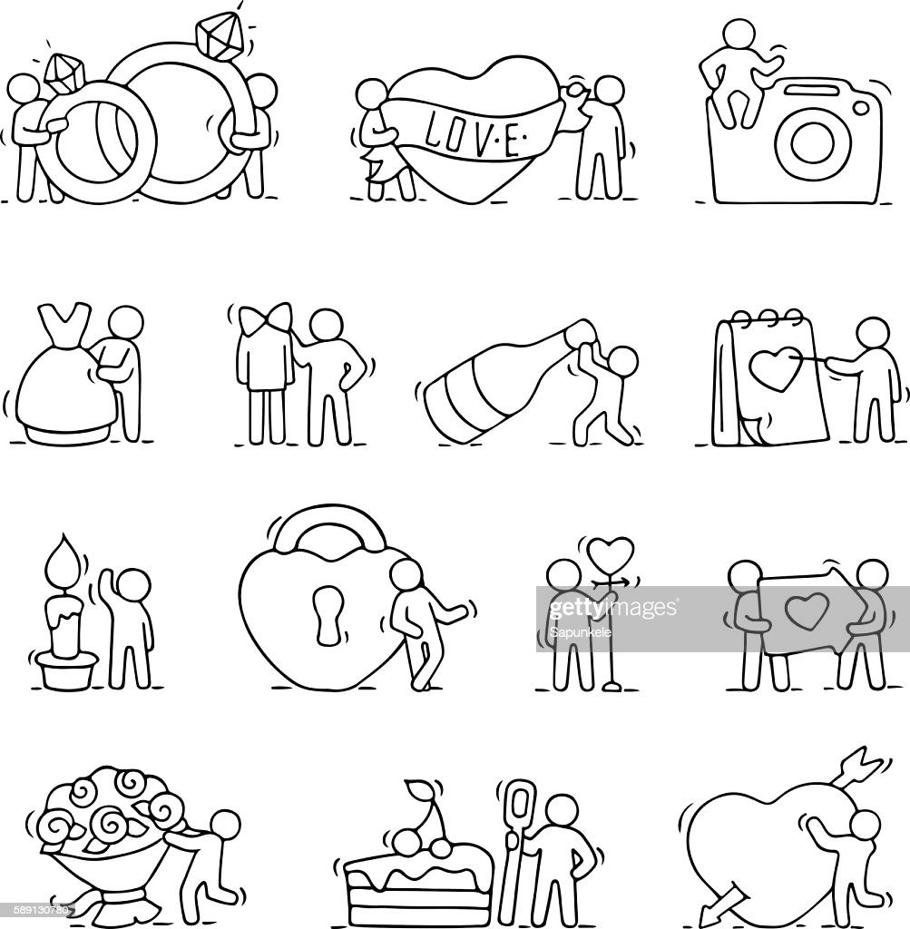Working Little People With Love Symbols Vector Art Getty Images