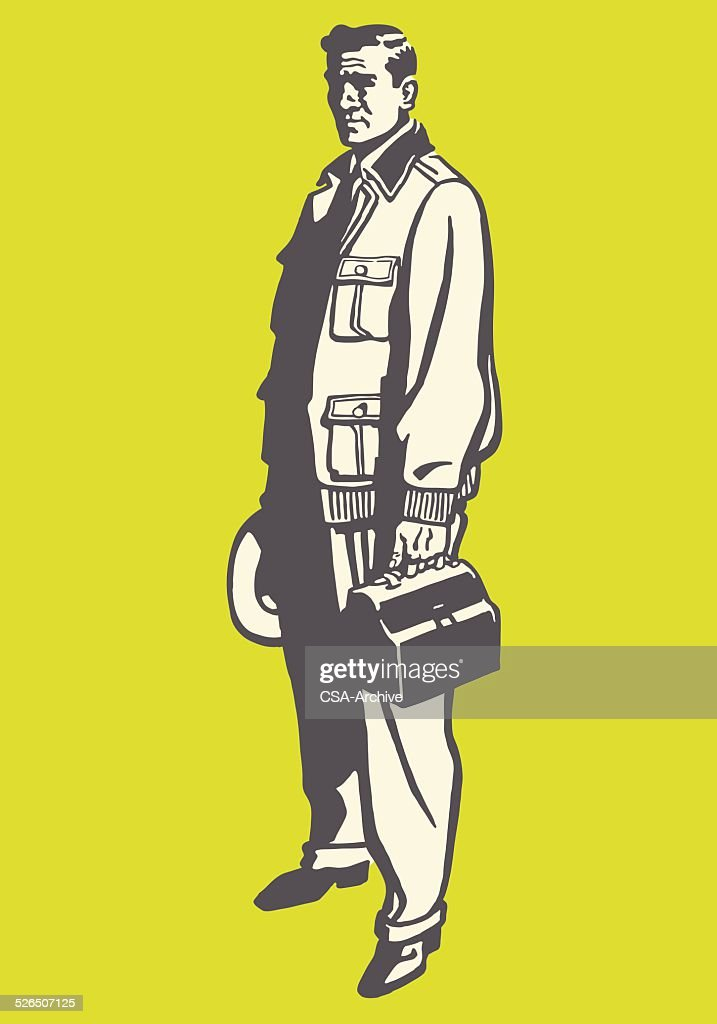 Working Man Carrying a Lunchbox
