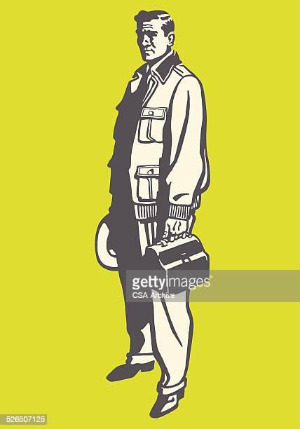 ilustrações, clipart, desenhos animados e ícones de homem carregando uma lunchbox trabalho - estereótipo de classe trabalhadora