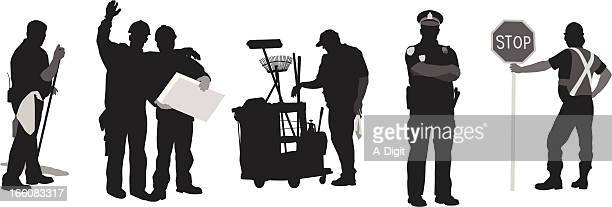 Working Men Vector Silhouette