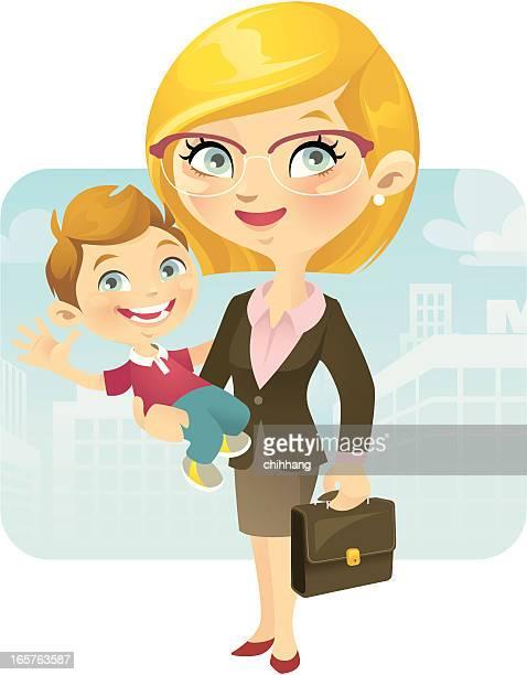 ilustraciones, imágenes clip art, dibujos animados e iconos de stock de de trabajo mom - madre trabajadora