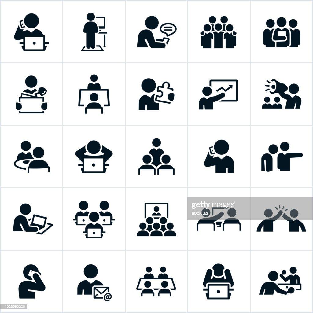 Icone delle impostazioni cultura di Office di lavoro : Illustrazione stock
