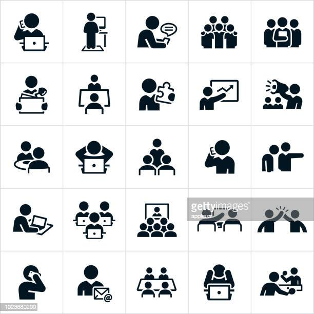 working office culture icons - using phone stock illustrations