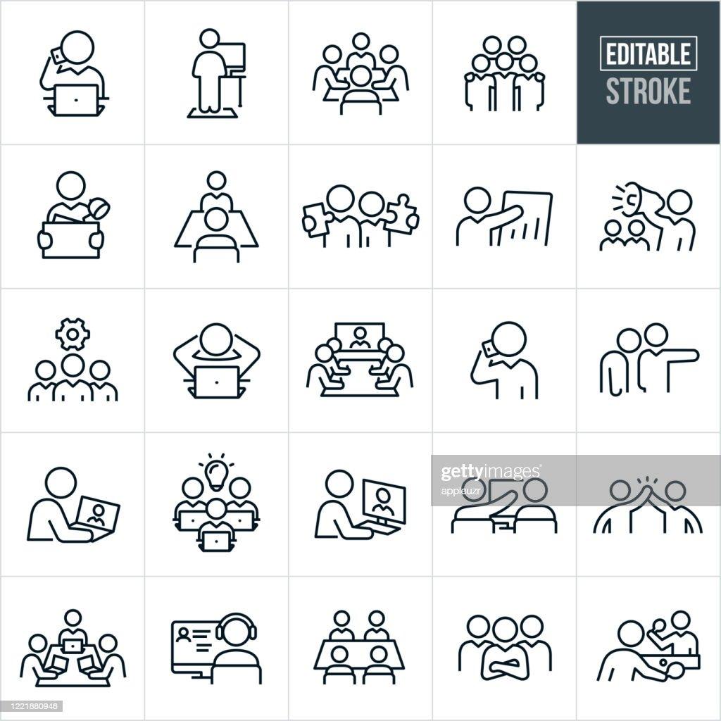 Working Office Kultur Dünne Linie Icons - editierbare Strich : Stock-Illustration