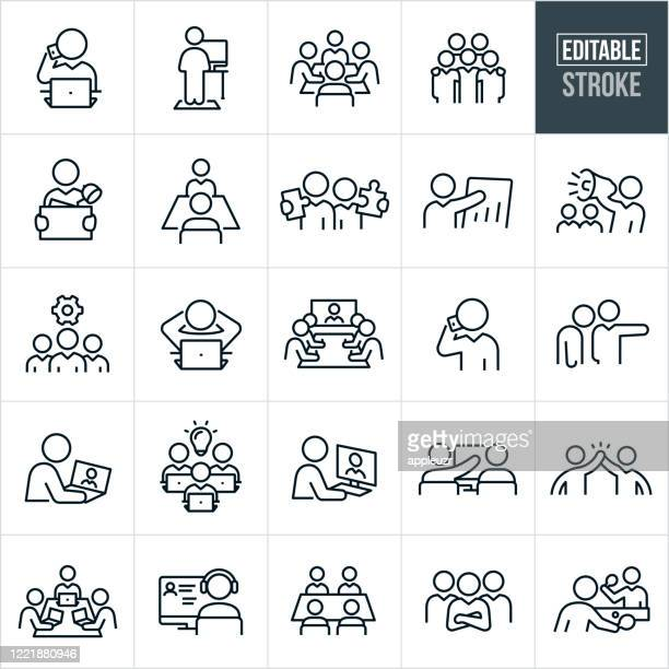 working office kultur dünne linie icons - editierbare strich - teamwork stock-grafiken, -clipart, -cartoons und -symbole
